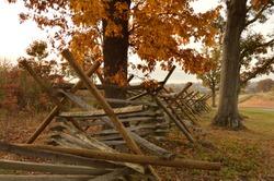 Split Rail Fence in autumn at Gettysburg National Military Park in Gettysburg, Pennsylvania