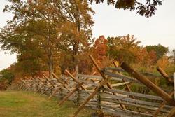 Split rail fencing in Gettysburg National Military Park, Pennsylvania in autumn