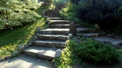 Split rock stairway with green foliage.