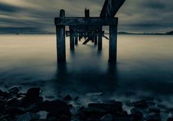 split tone image of Dalgety bay pier, fife, Scotland.