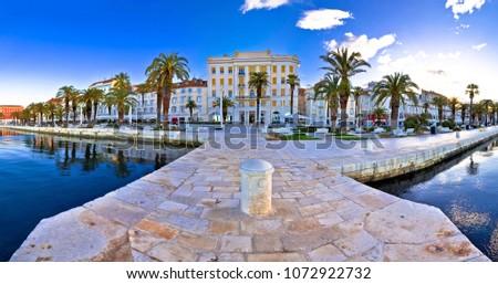 Split waterfront panoramic view from pier, Dalmatia, Croatia