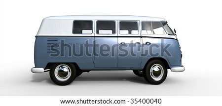 Splitscreen Classic Camping Microbus / Bus isolated on white