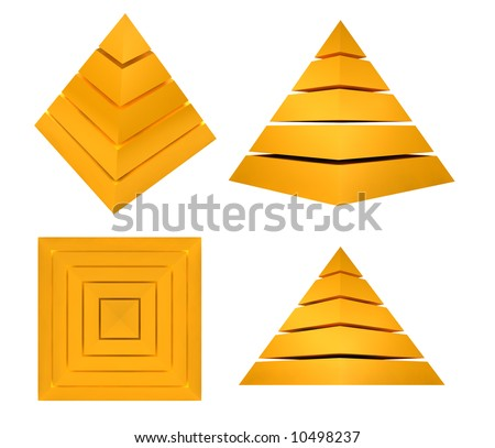 Splitted Pyramid in different views - 3D illustration