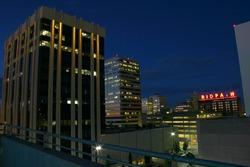 Spokane office building at night
