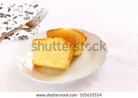 sponge cake on plate