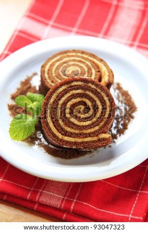 Sponge cake roll  - stock photo
