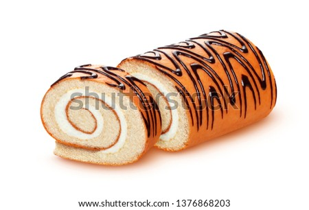 Sponge cake roll isolated on white background, swiss roll with vanilla cream, sliced biscuit roll with milk filling