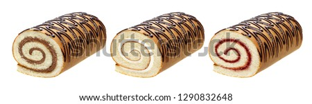 Sponge cake roll isolated on white background, with chocolate, vanilla and berry cream, different swiss rolls collection for use in packaging