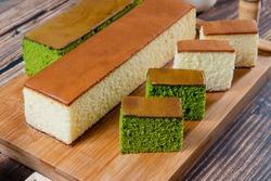 sponge cake with matcha and honey, japanese sweets, honey castella cake,  (Japanese sponge cake)
