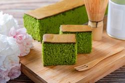sponge cake with matcha and honey, matcha castella cake,  (Japanese sponge cake)