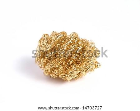 Sponge of bronze in a white background