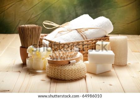 Sponge, towels and soap