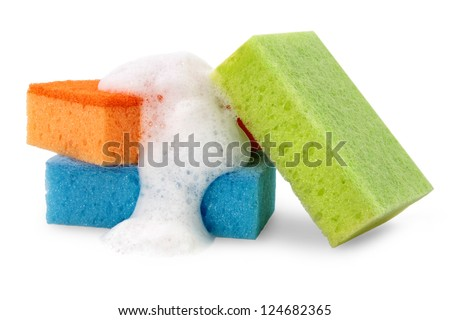 Sponges for cleaning with foam, isolated on white background