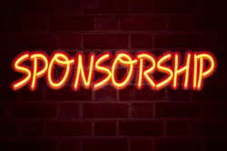 Sponsorship neon sign on brick wall background. Fluorescent Neon tube Sign on brickwork Business concept for Word Cloud Concept3D rendered Front View