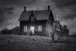 Spooky abandoned House in Black and White