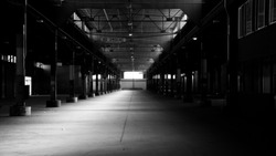 Spooky Abandoned Warehouse Floor in Black and White