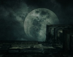 Spooky ancient building with full moon, grunge texture, Halloween background