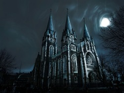 Spooky ancient castle at night under the light of the moon. Old Church with ghosts.