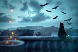 Spooky atmosphere over the rooftops