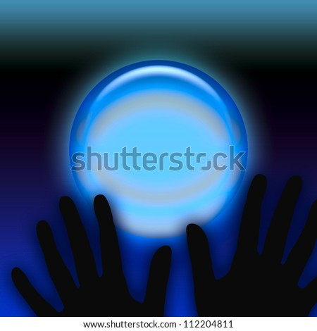 spooky black hands and eerie crystal ball illustration
