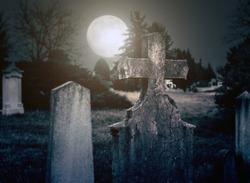 Spooky cemetery night