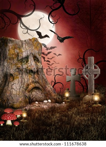 Spooky cemetery with bats and mushrooms - stock photo