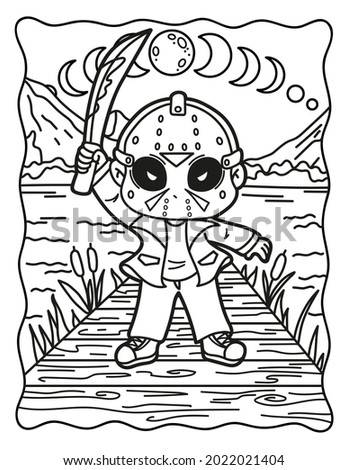 Spooky coloring pages. Coloring book for children. Coloring book for adults. Halloween. Coloring book for Halloween. Cute horror movies.