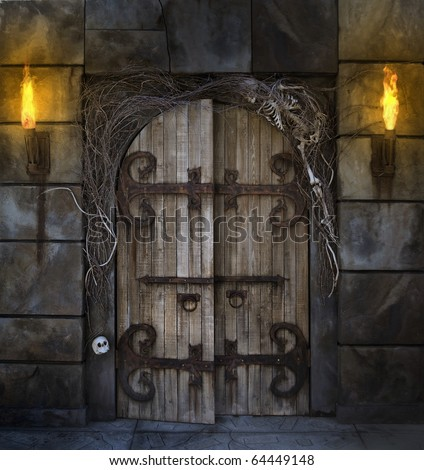 Spooky dungeon door flanked with two flaming torches and decorated with twigs and skeleton bones