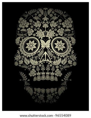 spooky floral skull background