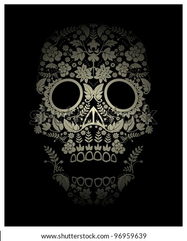 spooky flower skull backdrop (raster version)