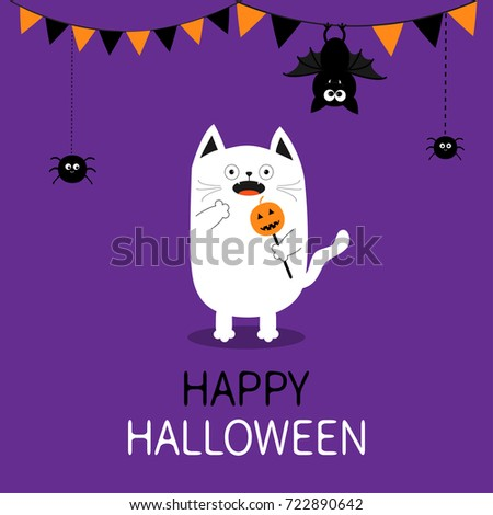 Spooky frightened cat holding pumpkin face on stick. Happy Halloween. Flag garland. Hanging spider dash line bat. Bunting flags. Funny Cute cartoon baby character. Flat design Violet background #722890642
