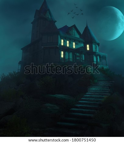 Spooky Halloween haunted manor on a hill against the moon in a foggy night, 3d render. Foto d'archivio ©