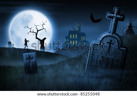 Spooky Halloween night. Foggy cemetery and haunted house on background
