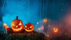 Spooky halloween pumpkins in forest. Scary halloween background with free space for text.