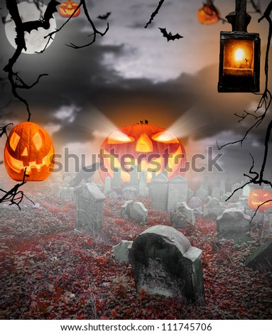 Spooky halloween ruined cemetery