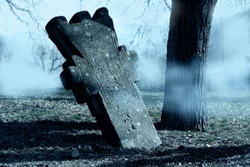 Spooky  Horror Halloween graveyard with fog. Halloween scary night concept