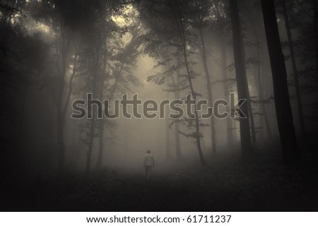 spooky landscape with a man walking through a dark forest