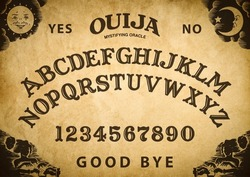 Spooky planchette of Ouija Board on vintage texture. Poster with game of ghosts. Halloween play with calling souls and demons. Party poster. Graphic, typography, alphabet, letters, numbers.