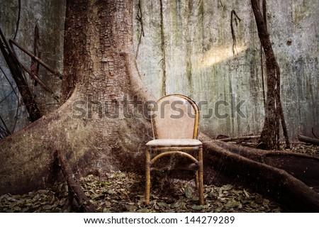 spooky tree and the chair with the old wall on background - grunge and textured