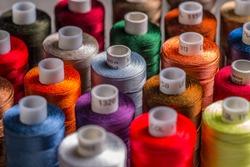 Spools of colorful silk thread
