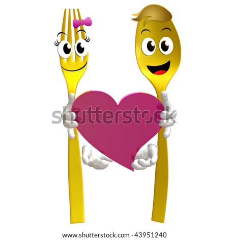 Spoon and fork character holding heart of love sign illustration