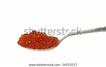 Spoon and red caviar isolated on white