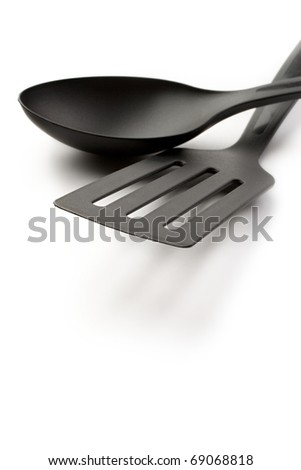 Spoon and spatula isolated on white