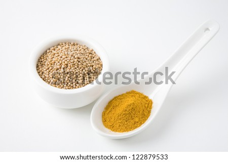 Spoon filled with turmeric powder and mustard seed in bowl