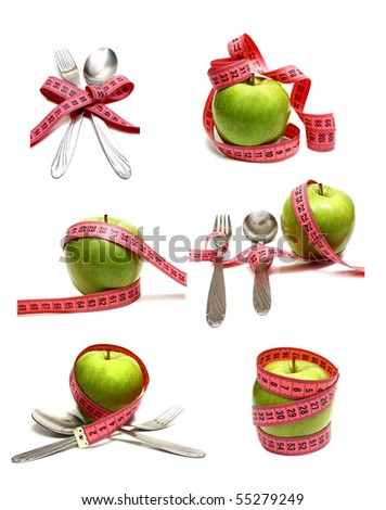 spoon fork and apple is strung by a ribbon for measuring diet isolated on white background