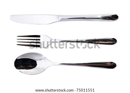 Spoon, fork and knife over white background