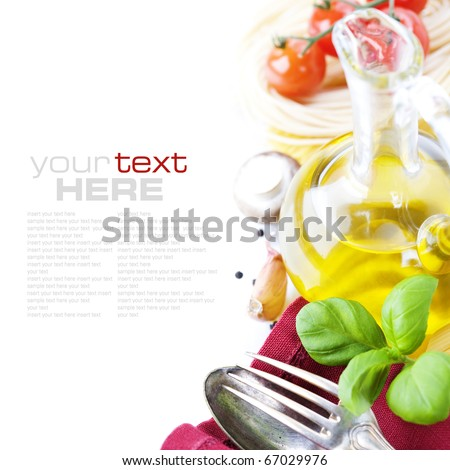 Spoon fork napkin and pasta ingredients Pasta olive oil basil mushrooms tomato garlic with sample text