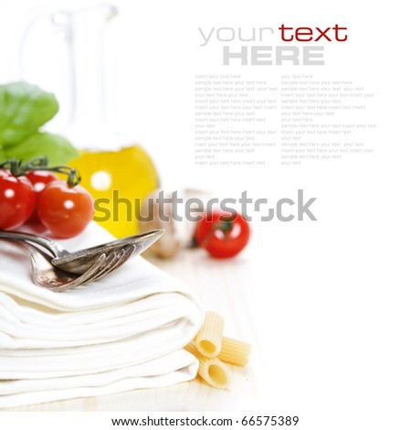 Spoon, fork, napkins and pasta ingredients (with sample txt)
