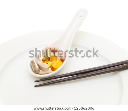 Spoon full of supplements on white plate with chopsticks