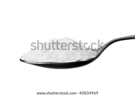 Spoon Of Coarse Salt, Isolated On White